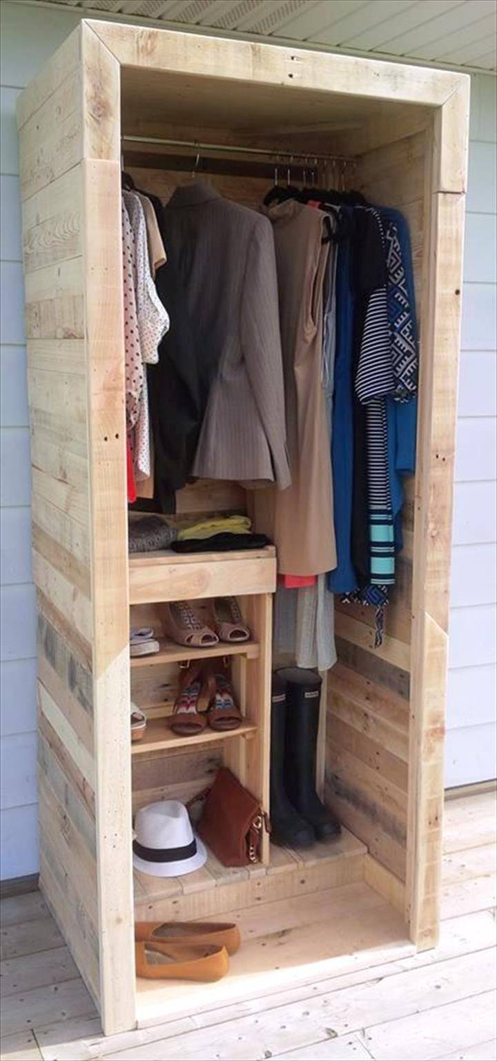 Built A Pallet Wardrobe Or Pallet Closet Intended For Low Cost Wardrobes (View 8 of 15)
