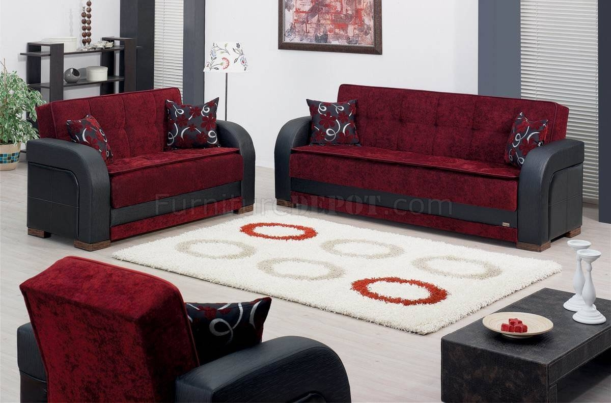 Burgundy Fabric & Black Vinyl Two-Tone Modern Sofa Bed W/options pertaining to Two Tone Sofas (Image 5 of 30)