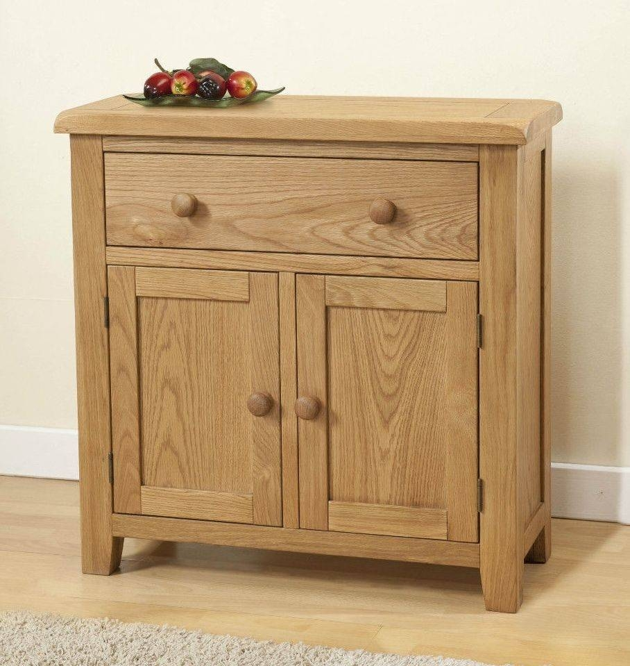 Burnham Solid Chunky Wood Rustic Oak Small Compact Sideboard with regard to Narrow Oak Sideboards (Image 3 of 30)
