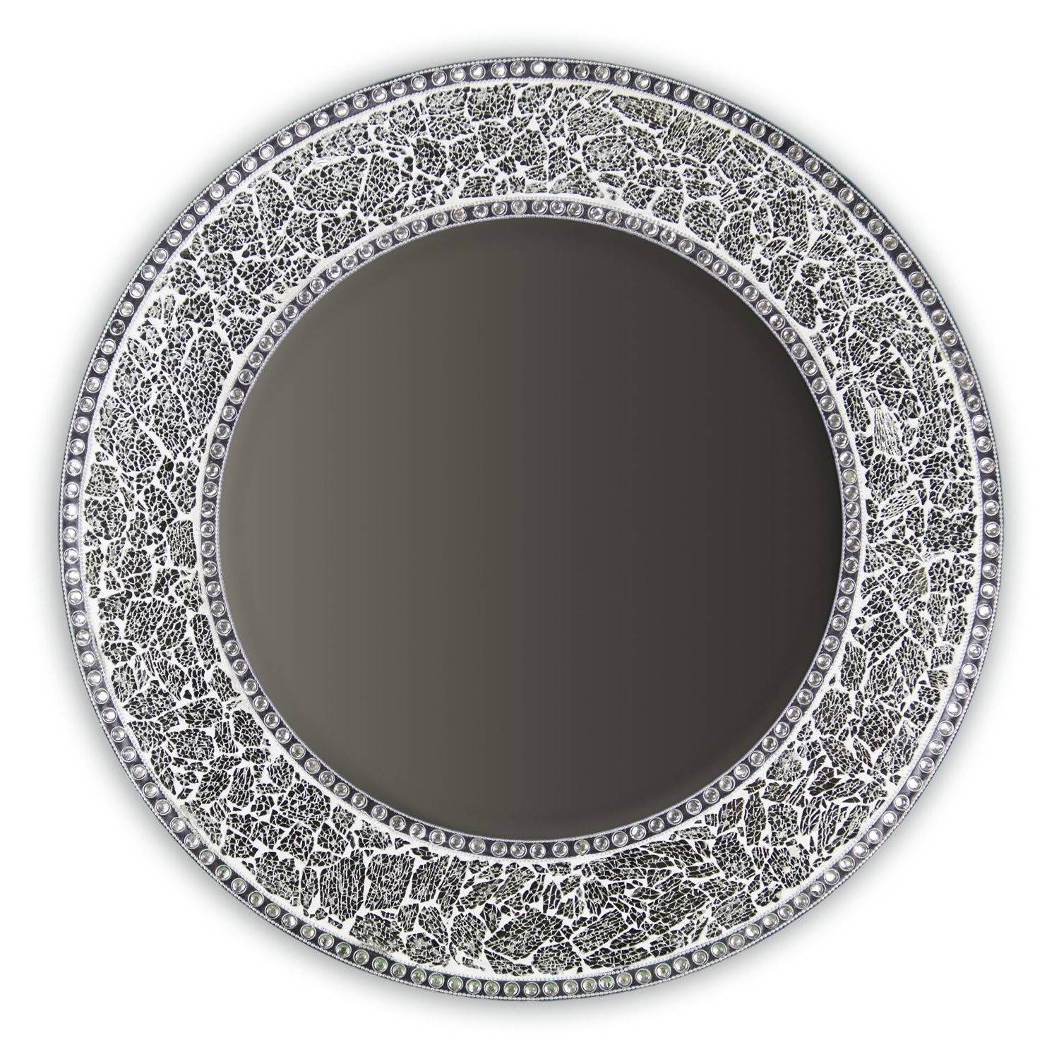 """Buy 24"""" Silver Round Crackled Glass Mosaic Decorative Wall Mirror for Mosaic Wall Mirrors (Image 7 of 25)"""