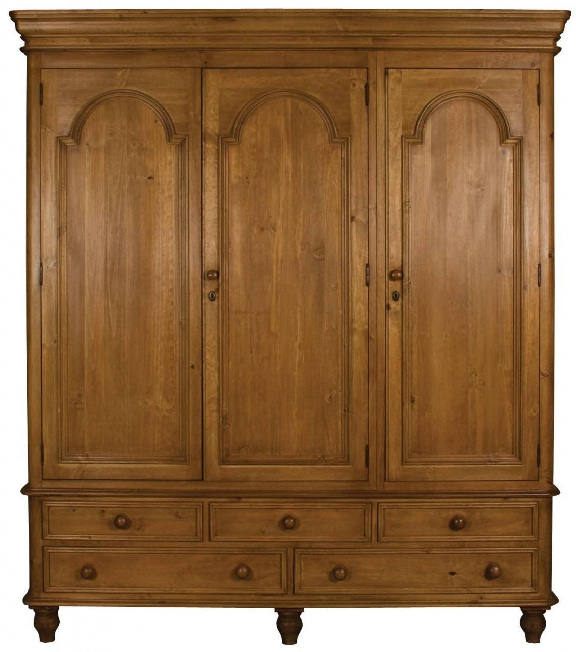 Buy Ascot Pine Wardrobe - Triple 3 Doors 5 Drawers Online - Cfs Uk within Single Pine Wardrobes With Drawers (Image 4 of 15)
