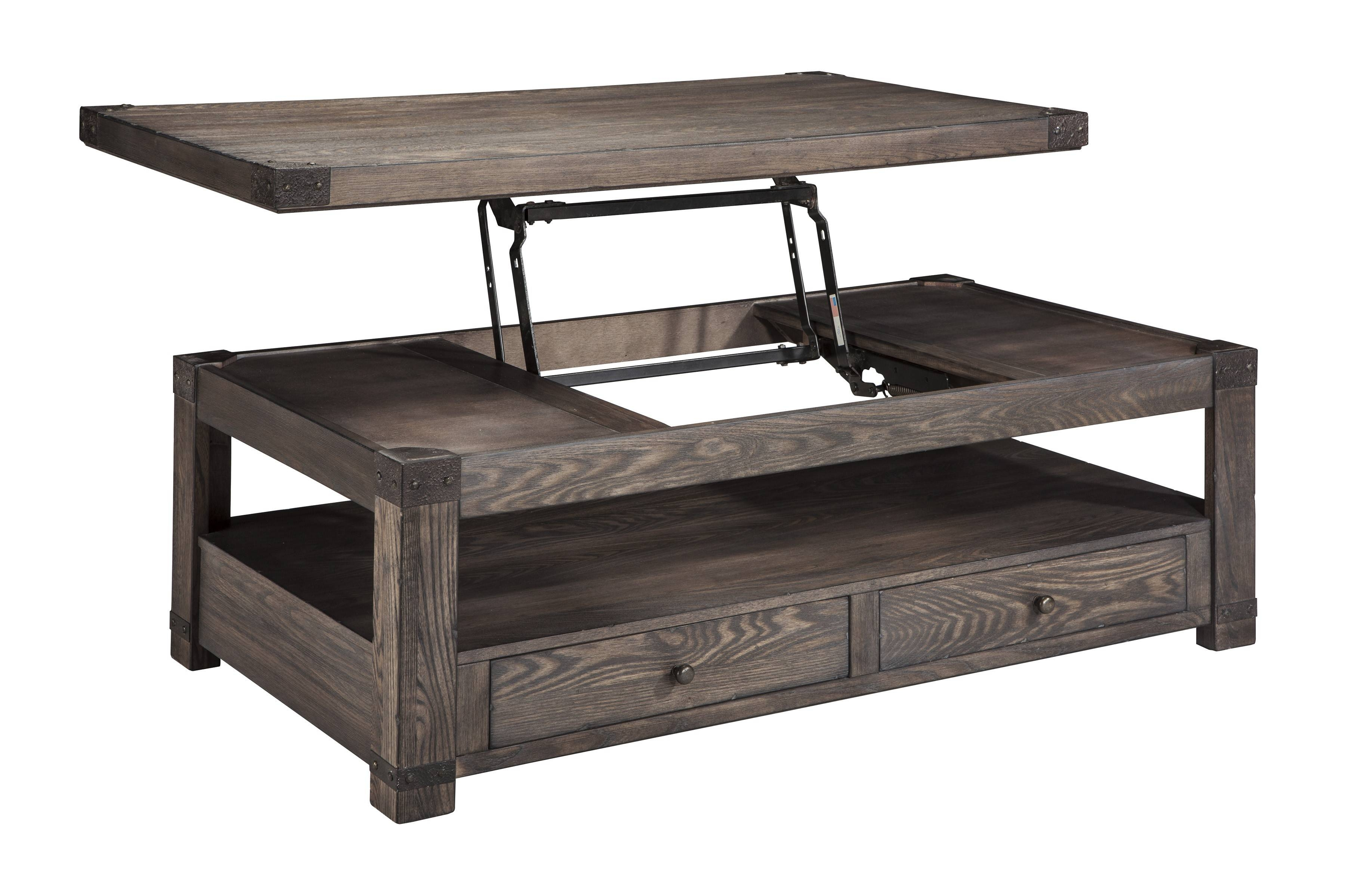 Buy Ashley Furniture Burladen Rectangular Lift Top Cocktail Table pertaining to Lift Top Coffee Table Furniture (Image 4 of 30)