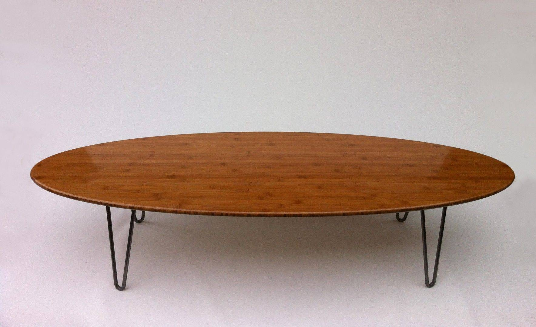 "Buy Custom 47"" Surf Board Shaped Elliptical Mid Century Modern inside Oval Shaped Coffee Tables (Image 4 of 30)"