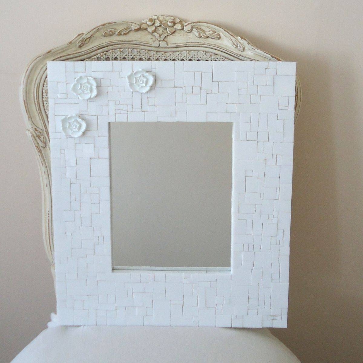 Buy Custom Made Mosaic Decorative White Wall Mirror With 3 Flowers in White Decorative Mirrors (Image 7 of 25)