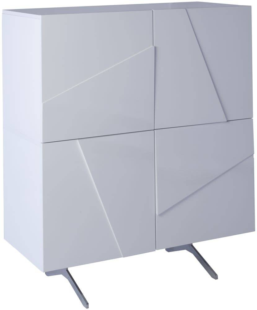 Buy Gillmore Space Glacier Gloss White Sideboard - Square 4 Doors in Gloss White Sideboards (Image 4 of 30)