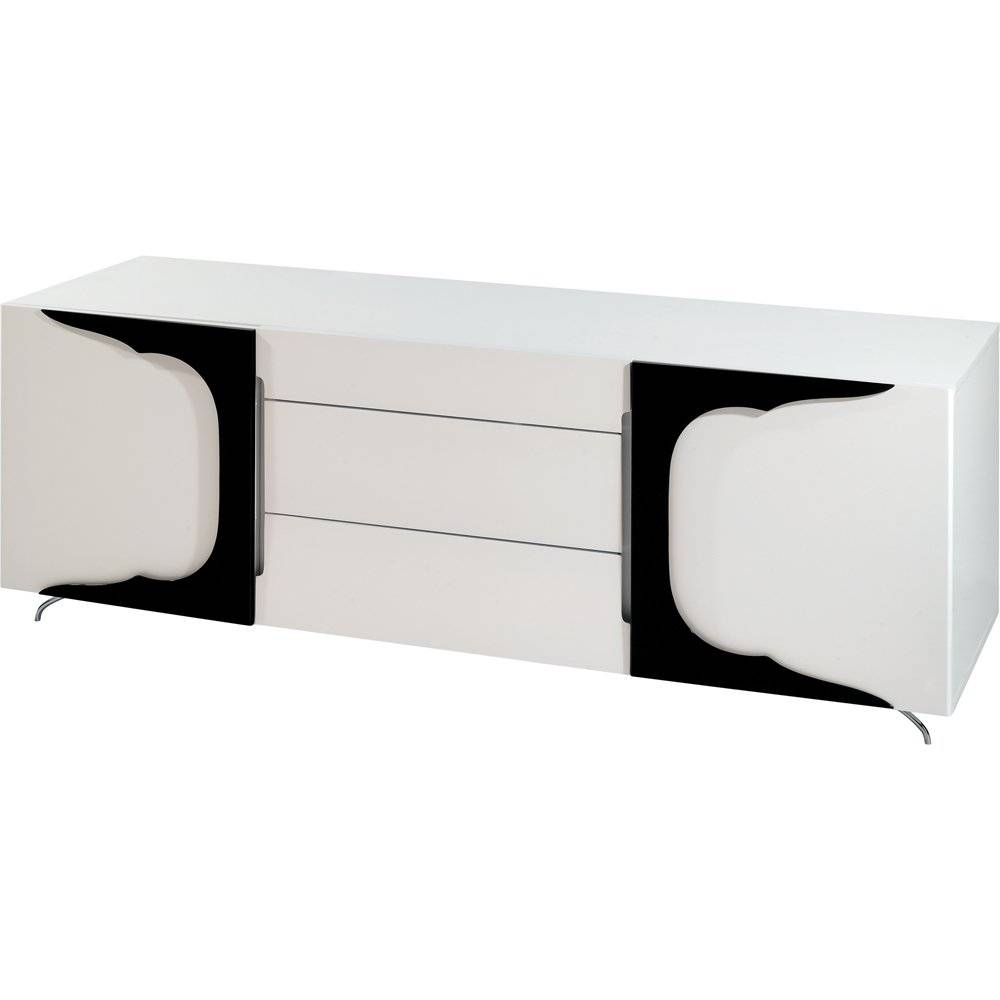 Buy Gillmore Space High Gloss White And Black Sideboard Online with Black Gloss Buffet Sideboards (Image 5 of 30)