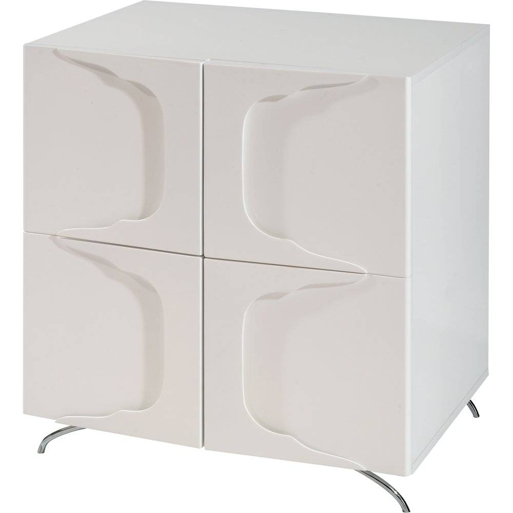 Buy Gillmore Space High Gloss White Square Sideboard | White Sideboard pertaining to High Gloss Black Sideboards (Image 7 of 30)
