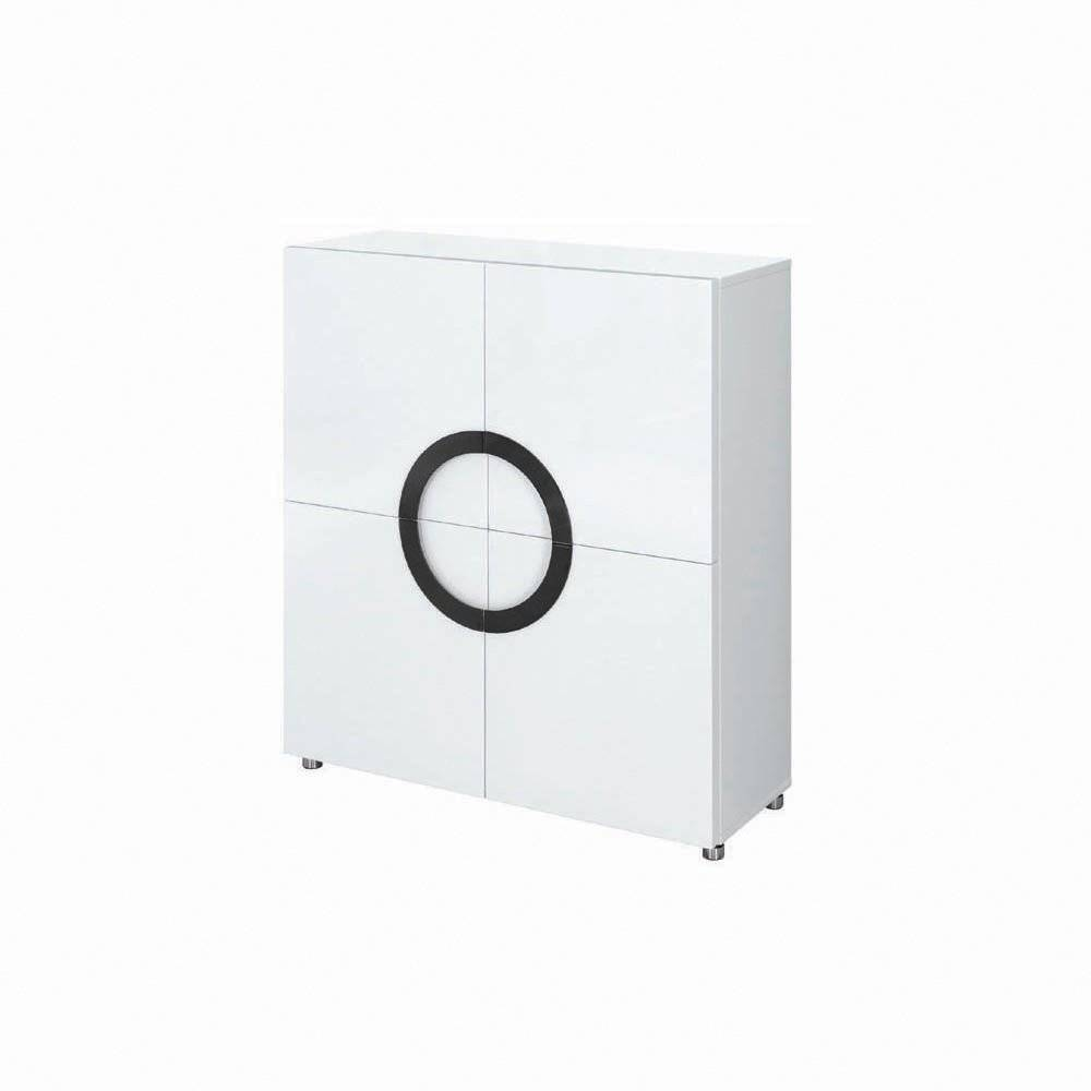 Buy Gillmore Space White High Gloss Square Sideboard | Slim Sideboard intended for White High Gloss Sideboards (Image 5 of 30)