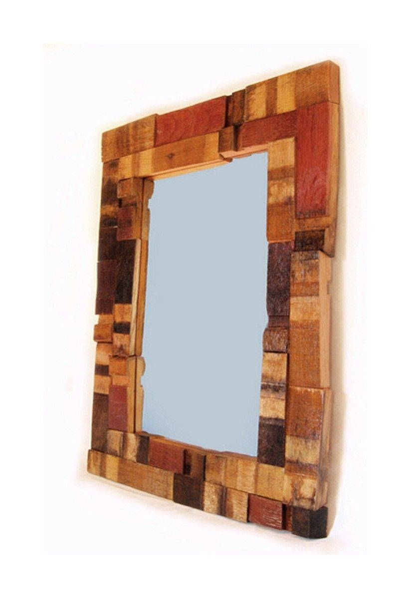 Buy Hand Crafted Mirrage, Large Wall Mirror Recycled Oak Wine in Large Oak Mirrors (Image 2 of 25)