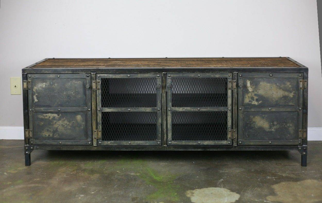 Buy Handmade Vintage Industrial Buffet/credenza Reclaimed Wood Top pertaining to Metal Sideboard Furniture (Image 3 of 30)