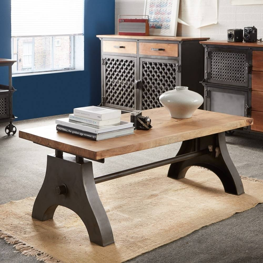 Buy Indian Hub Evoke Iron And Wooden Industrial Coffee Table inside Indian Coffee Tables (Image 7 of 30)