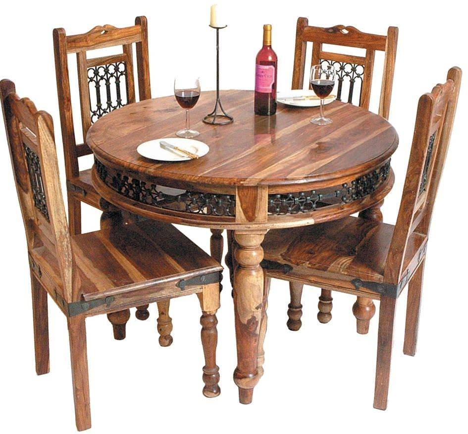Buy Jaipur Furniture Jali Dining Set - Round With 4 Chairs Online with Jaipur Sheesham Coffee Tables (Image 1 of 30)
