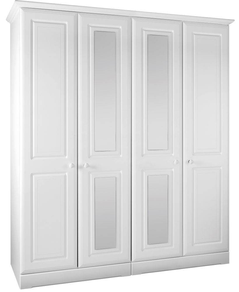 Buy Kingstown Nicole White Wardrobe - 4 Door With Centre Mirror pertaining to 4 Door Mirrored Wardrobes (Image 2 of 15)