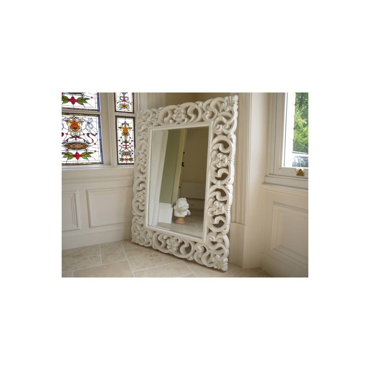 Buy Large French White Ornate Wall Mirror | Swanky Interiors for Large White Ornate Mirrors (Image 4 of 25)