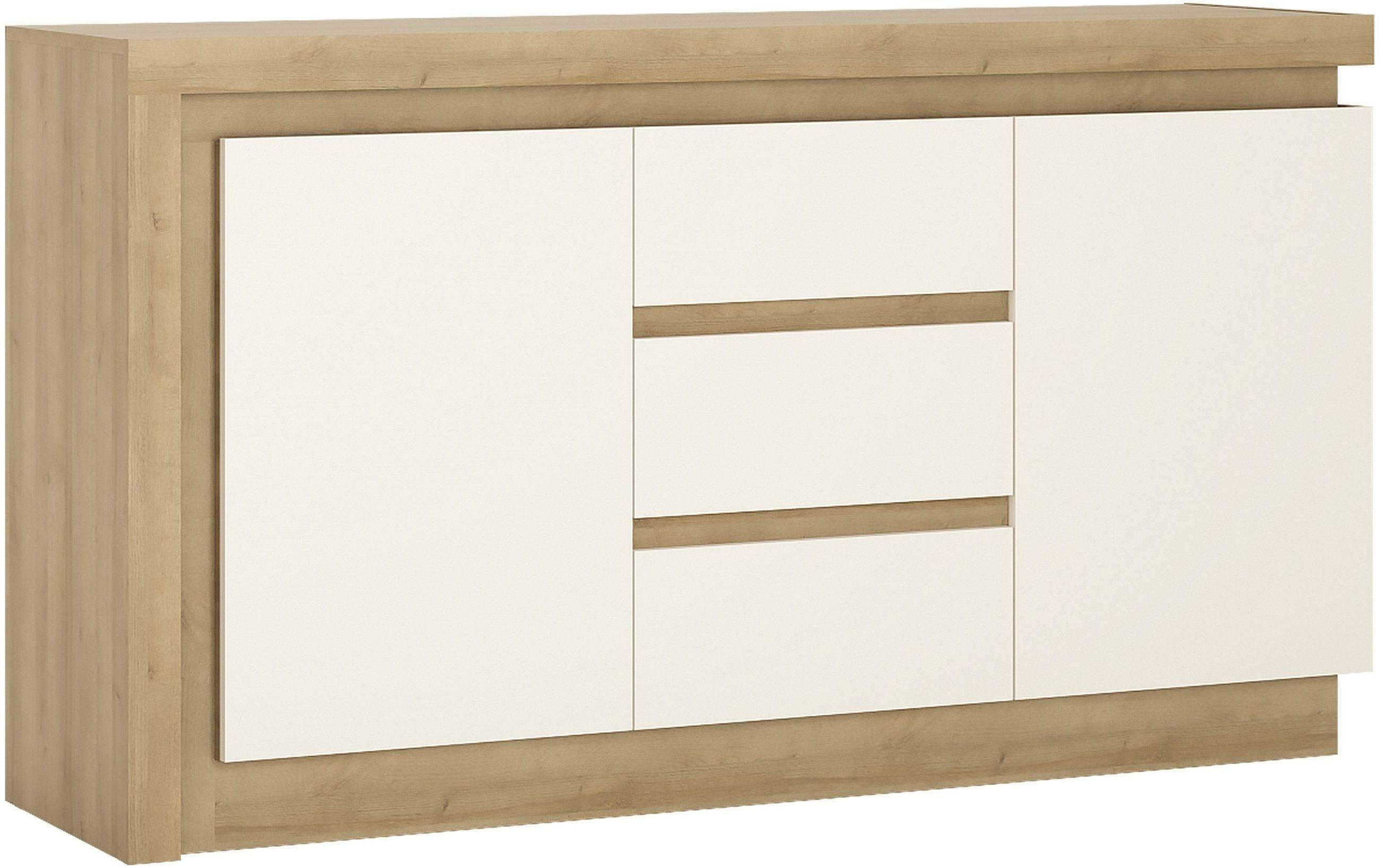 Buy Lyon Riviera Oak And White High Gloss Sideboard - 2 Door 3 for White Gloss Sideboards (Image 4 of 30)