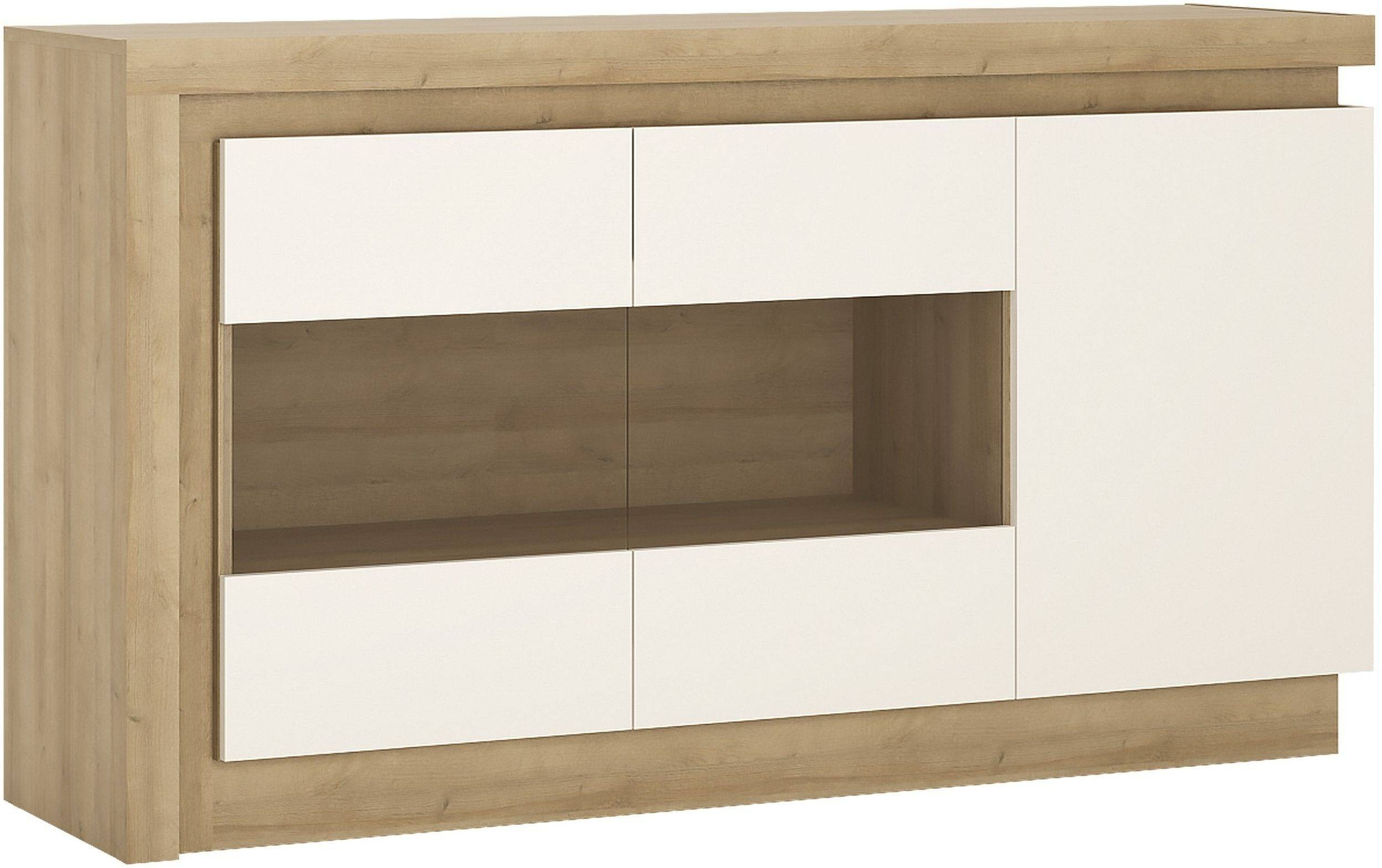 Buy Lyon Riviera Oak And White High Gloss Sideboard - 3 Door inside High Gloss Sideboards (Image 5 of 30)