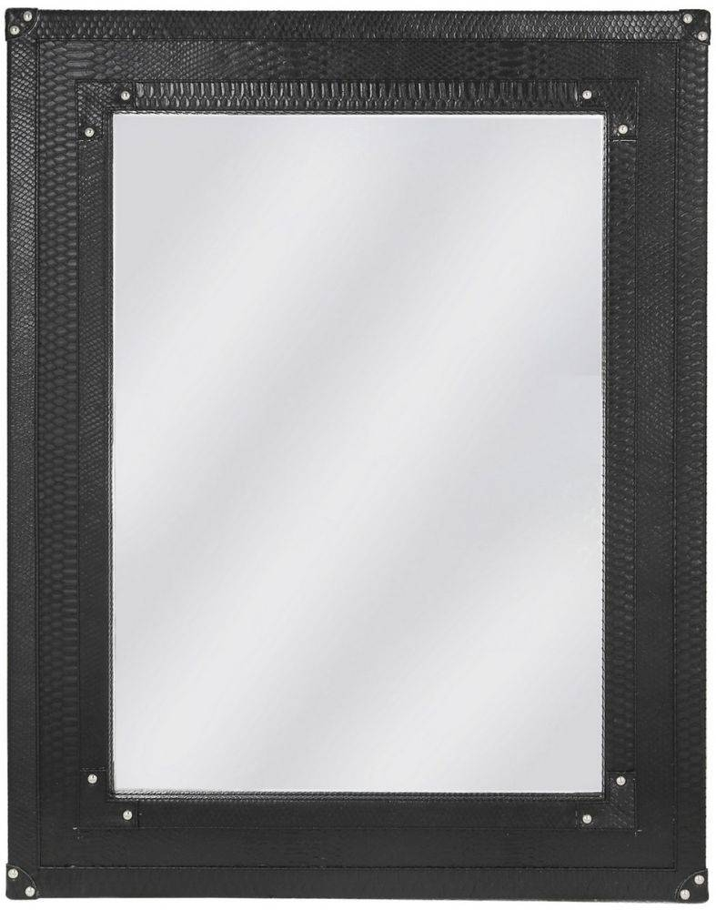 Buy Mandarin Snakeskin Faux Leather Black Beveled Wall Mirror With Black Faux Leather Mirrors (Photo 5 of 25)