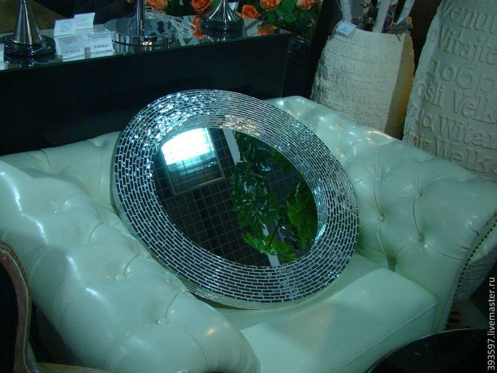 Buy Mirror In Mosaic Frame, Silver Glitter - Silver, Mirror Wall within Silver Glitter Mirrors (Image 8 of 25)