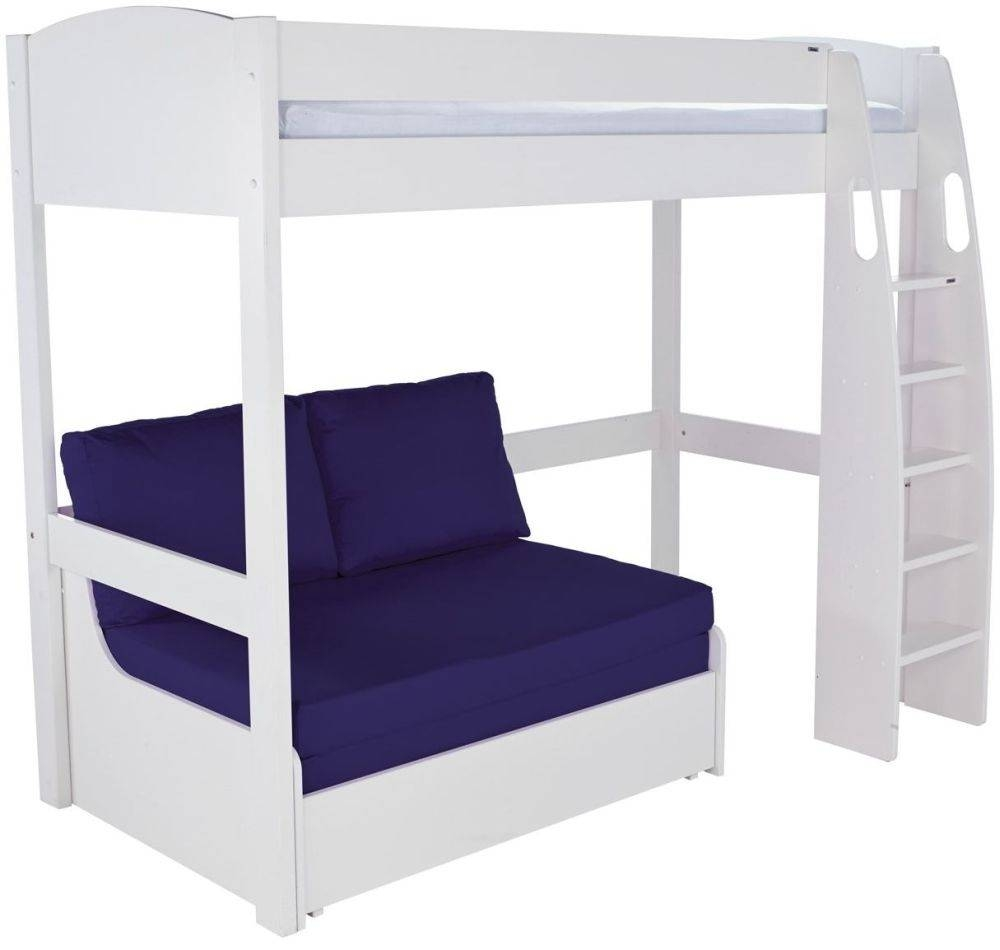 Buy Stompa White High Sleeper Frame With Blue Double Sofa Bed throughout High Sleeper Bed With Sofa (Image 1 of 30)