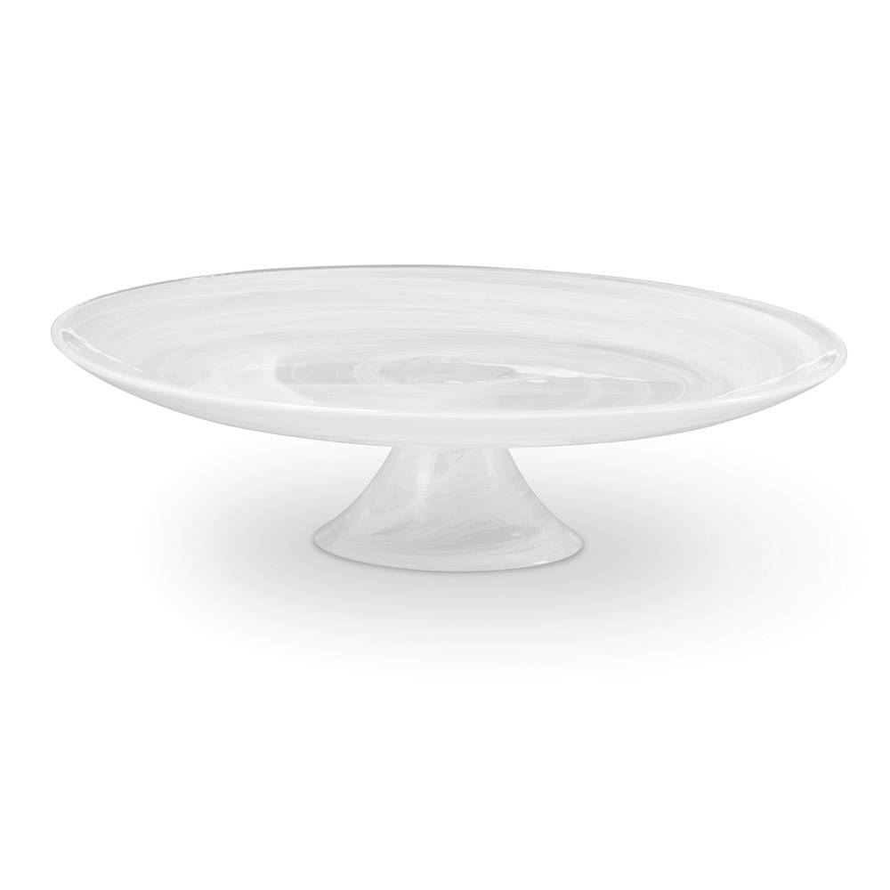 Buy Swirl White Glass Footed Cake Plate Online At Mikasa with Swirl Glass Coffee Tables (Image 5 of 30)