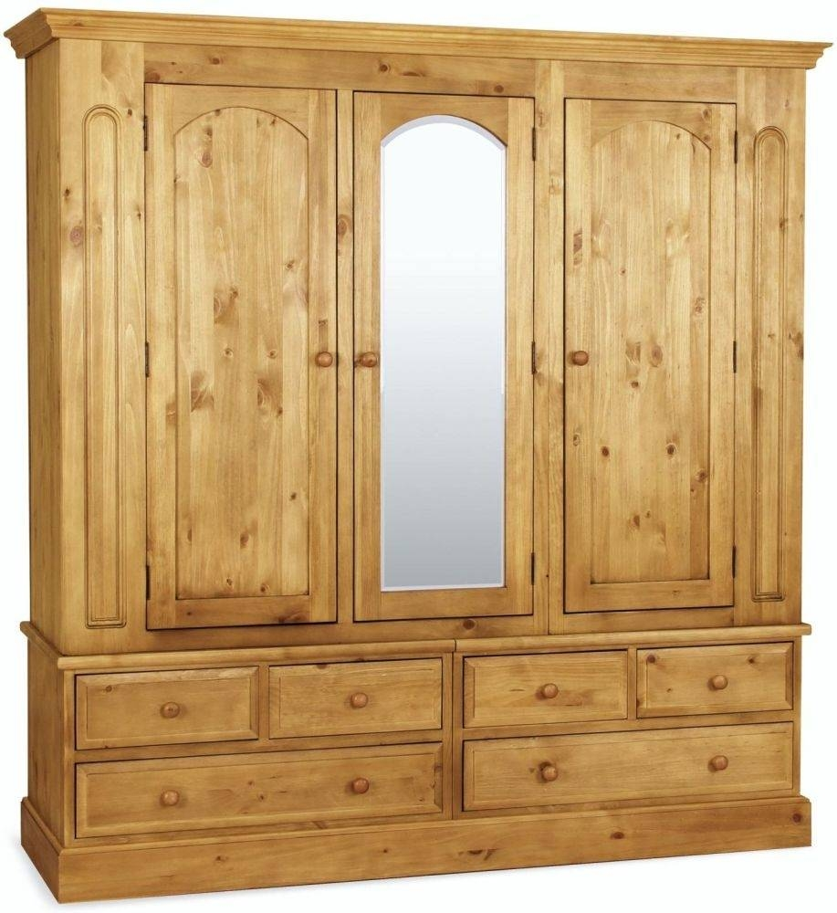 Buy Welland Pine Triple Wardrobe With Mirror Online - Cfs Uk for Triple Mirrored Wardrobes (Image 1 of 15)