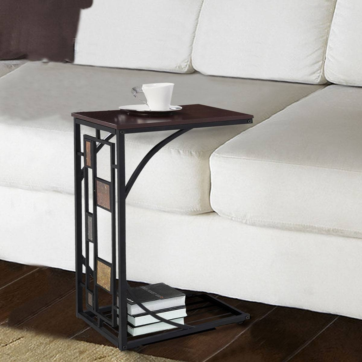 C Shaped Sofa End Side Table - End Tables - Accent Tables - Tables for Sofa Snack Tray Table (Image 2 of 30)