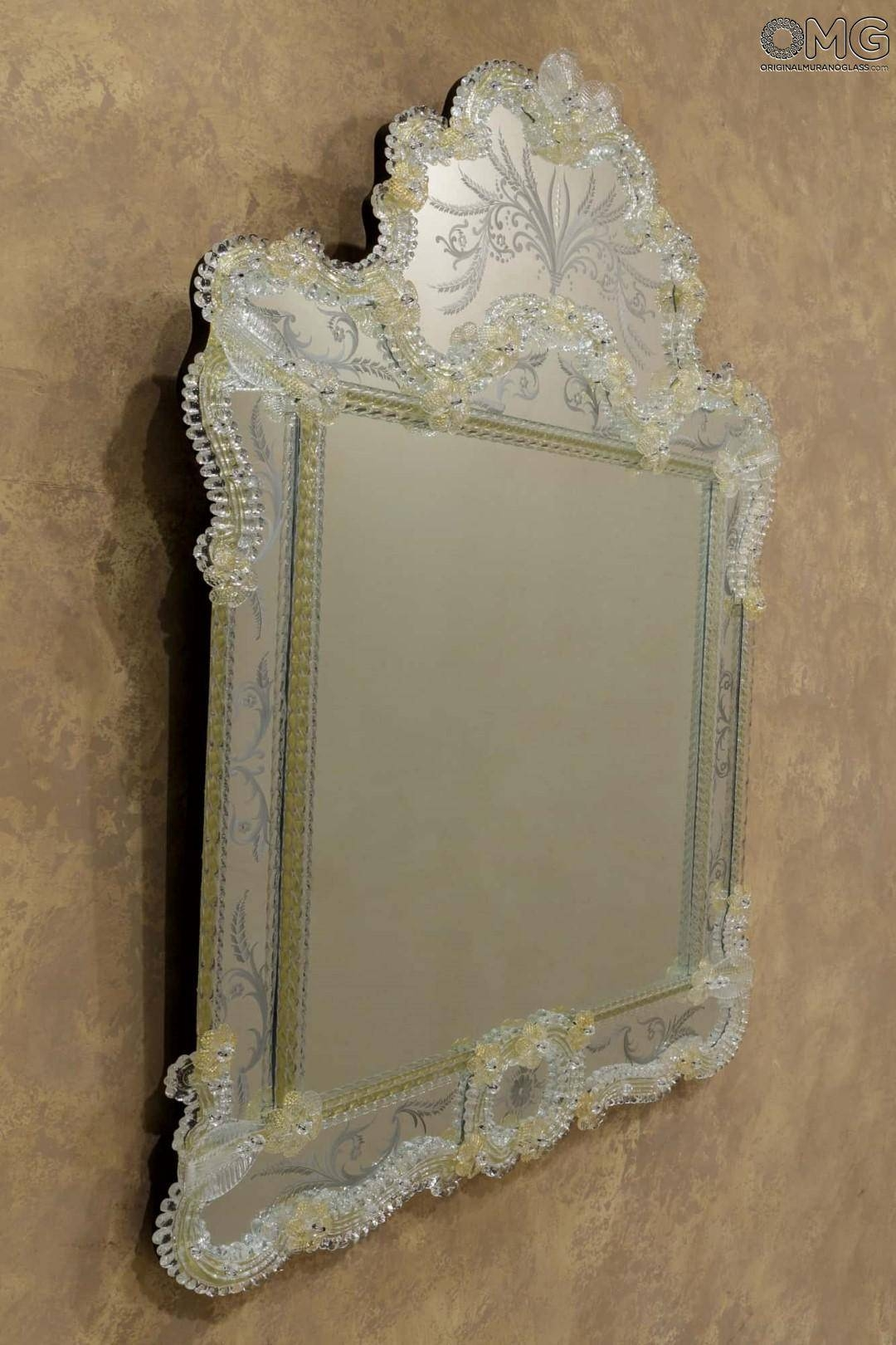 Ca Zanardi - Wall Venetian Mirror - Murano Glass And Gold 24Carats inside Venetian Wall Mirrors (Image 4 of 25)