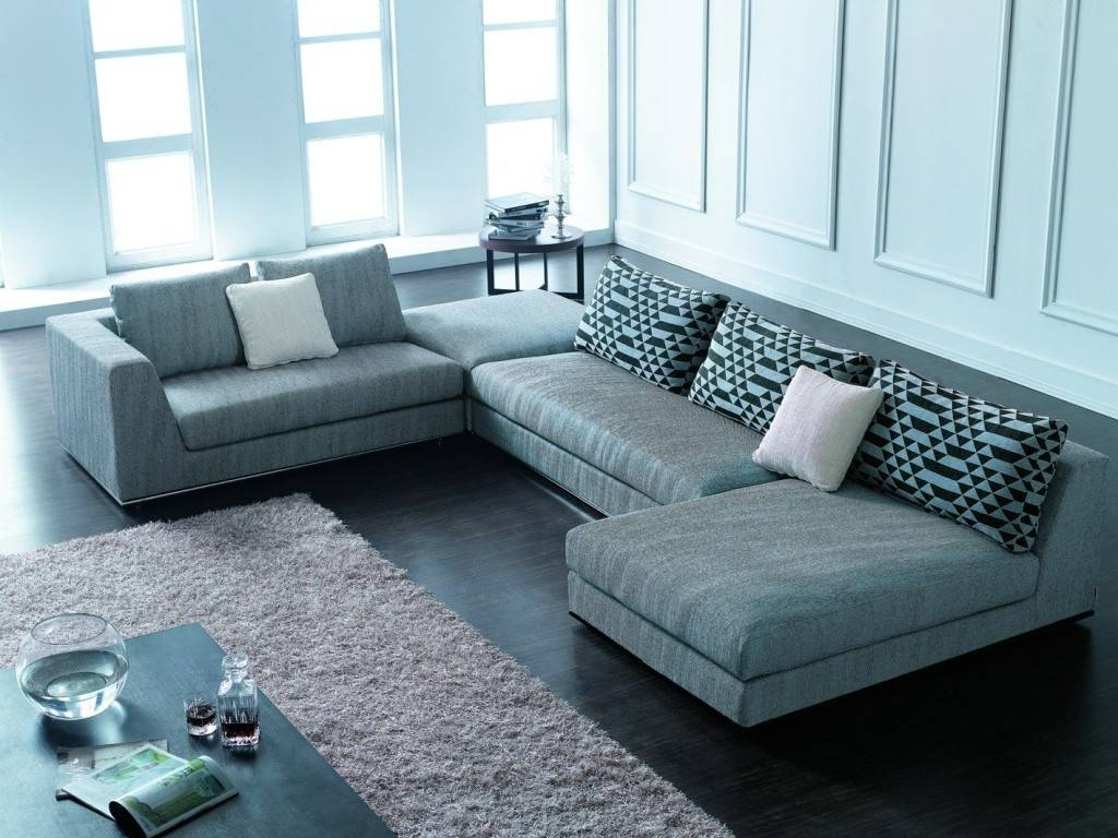 Cado Modern Furniture Aura Nevada Grege Contemporary Sectional pertaining to Modern Sectional Sofas For Small Spaces (Image 1 of 25)