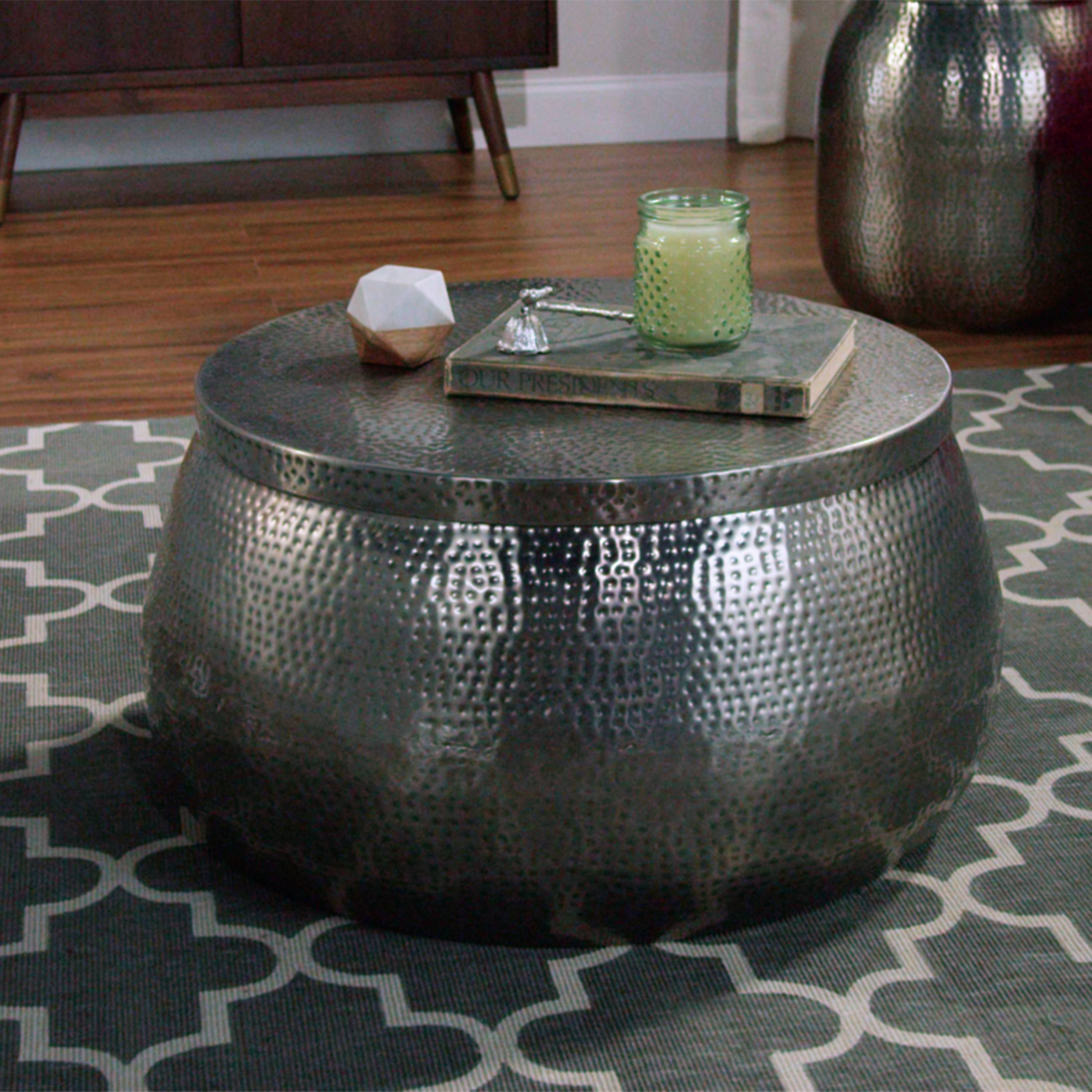 Cala Hammered Coffee Table | World Market for Silver Drum Coffee Tables (Image 7 of 30)
