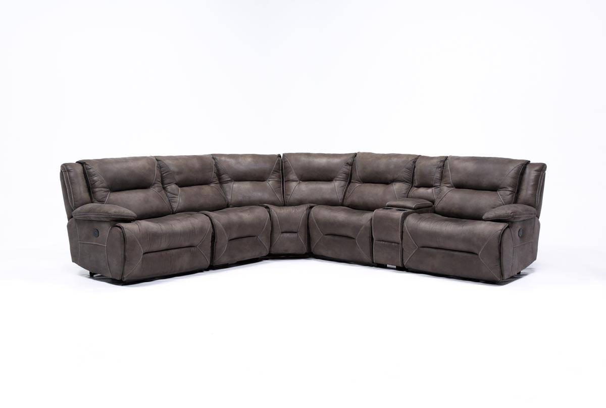Calder Grey 6 Piece Power Reclining Sectional - Living Spaces regarding 6 Piece Modular Sectional Sofa (Image 8 of 30)