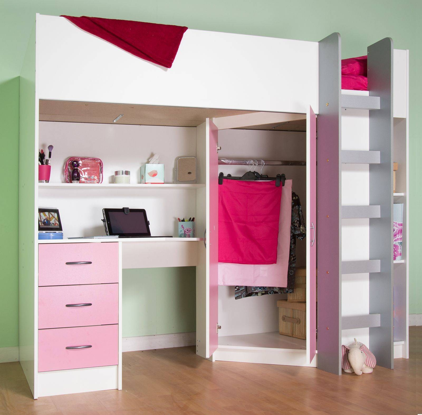 Calder White Or White Blue Or White Pink High Sleeper Cabin Bed inside High Sleeper Wardrobes (Image 2 of 15)