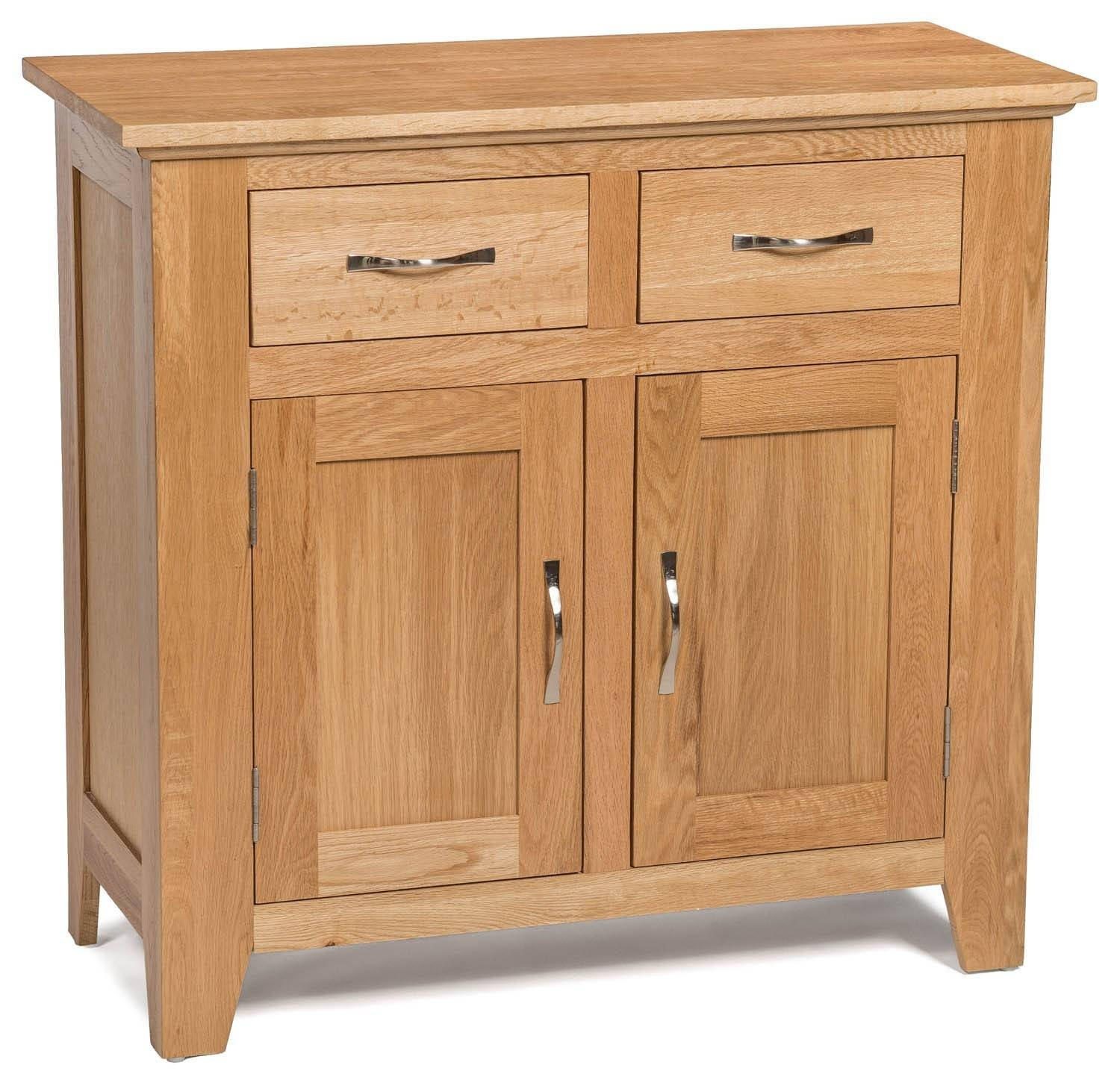 Camberley Oak Small 2 Door 2 Drawer Sideboard - Sideboards & Tops intended for Small Sideboard Cabinets (Image 4 of 30)