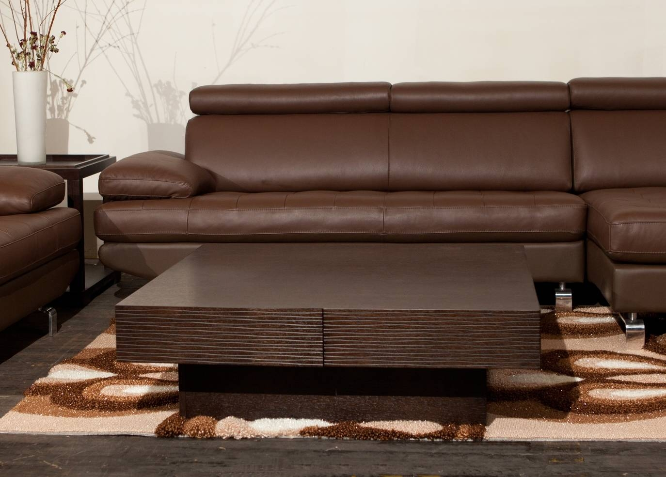Cambridge Dark Brown Wood Modern Coffee Table - Chocoaddicts within Wood Modern Coffee Tables (Image 1 of 30)