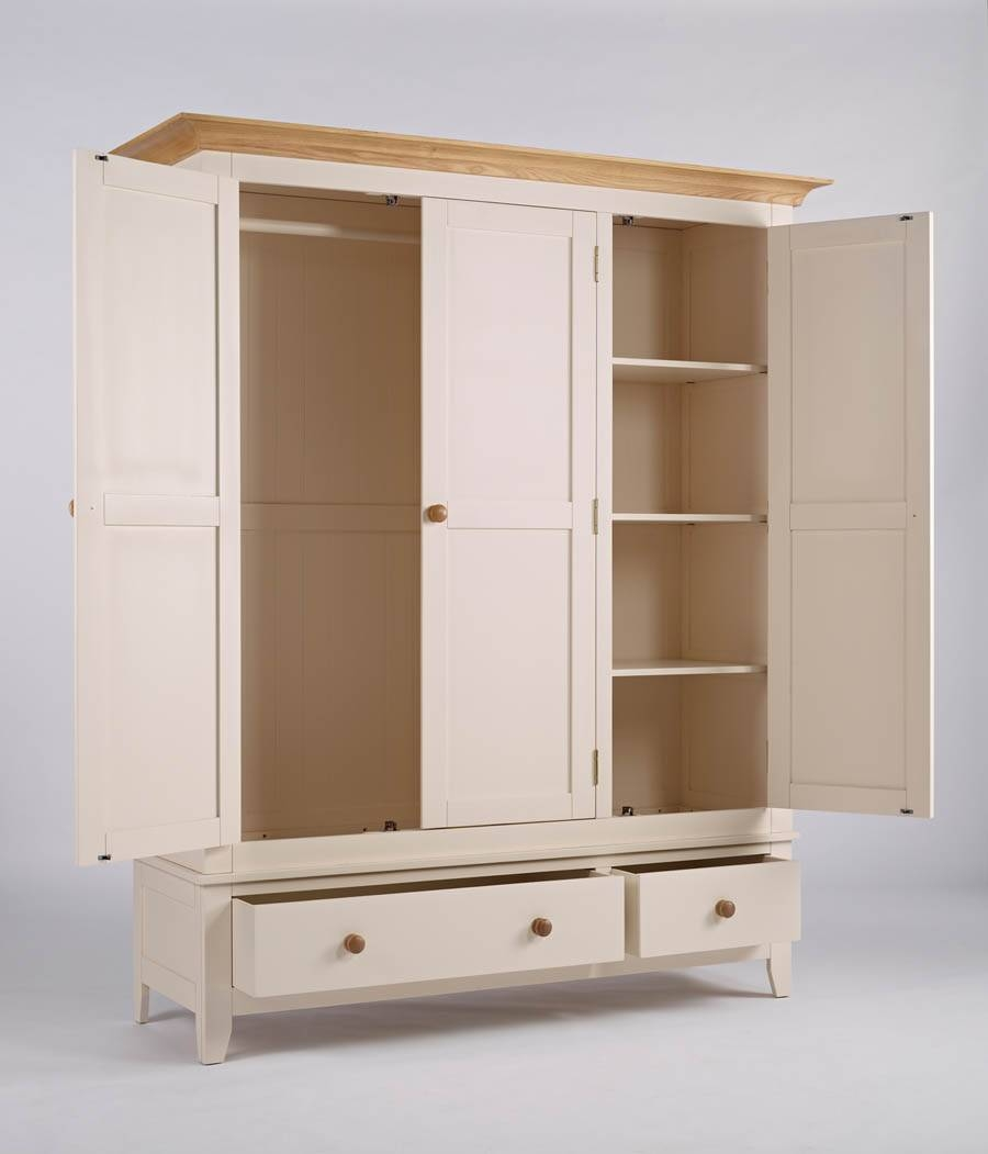 Camden Painted Wardrobe 3 Door 2 Drawer with regard to Pine Wardrobe With Drawers And Shelves (Image 6 of 30)