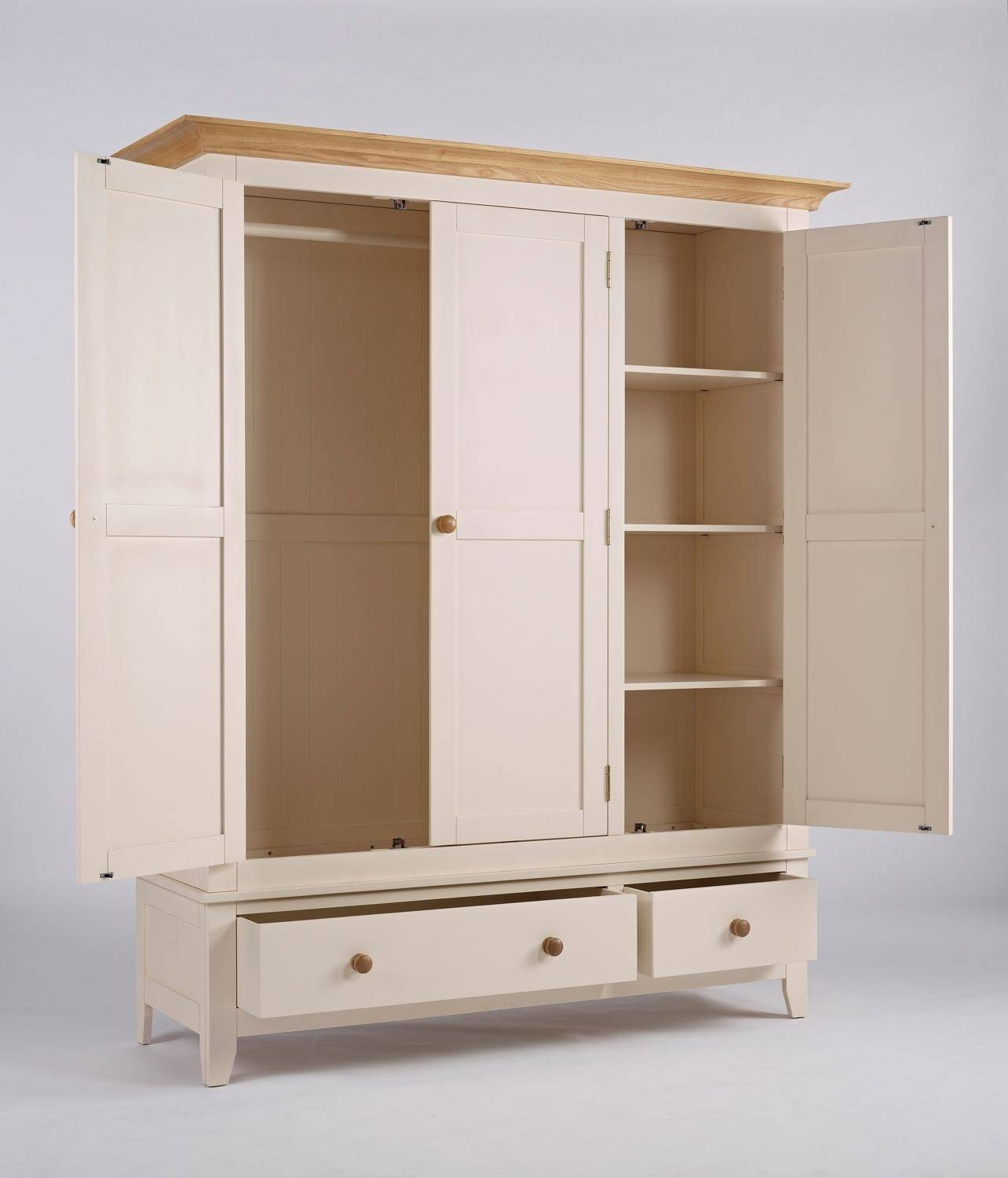 Camden Wardrobe 3 Door 2 Drawer / Handcrafted Ivory Painted Large within Camden Wardrobes (Image 7 of 15)
