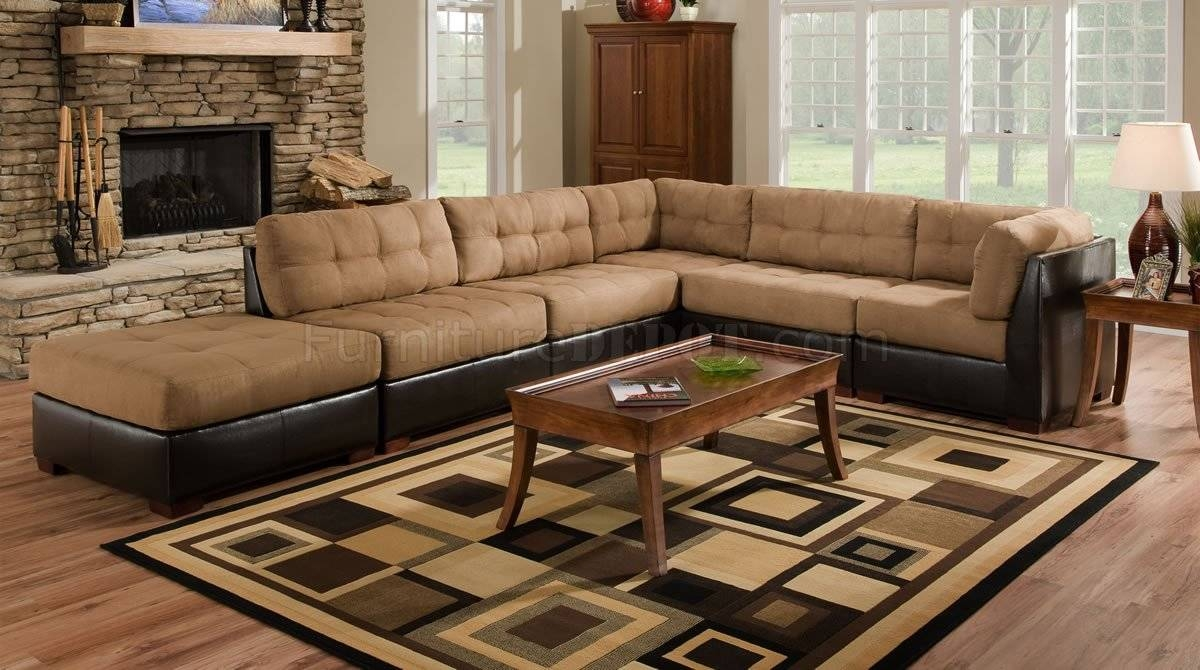 Camel Fabric Sectional Sofa W/dark Brown Faux Leather Base regarding Faux Leather Sectional Sofas (Image 6 of 25)