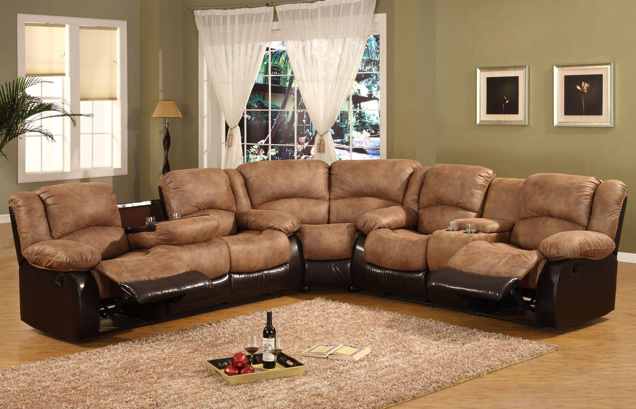 Camel Fabric Sectional Sofa With Dark Brown Faux Leather Base in Camel Colored Sectional Sofa (Image 12 of 30)