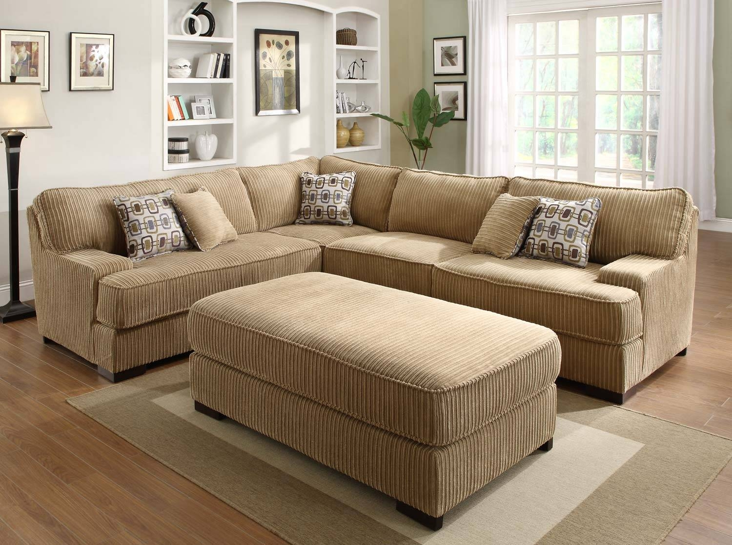 Camel Fabric Sectional Sofa With Dark Brown Faux Leather Base pertaining to Wide Sectional Sofa (Image 7 of 25)