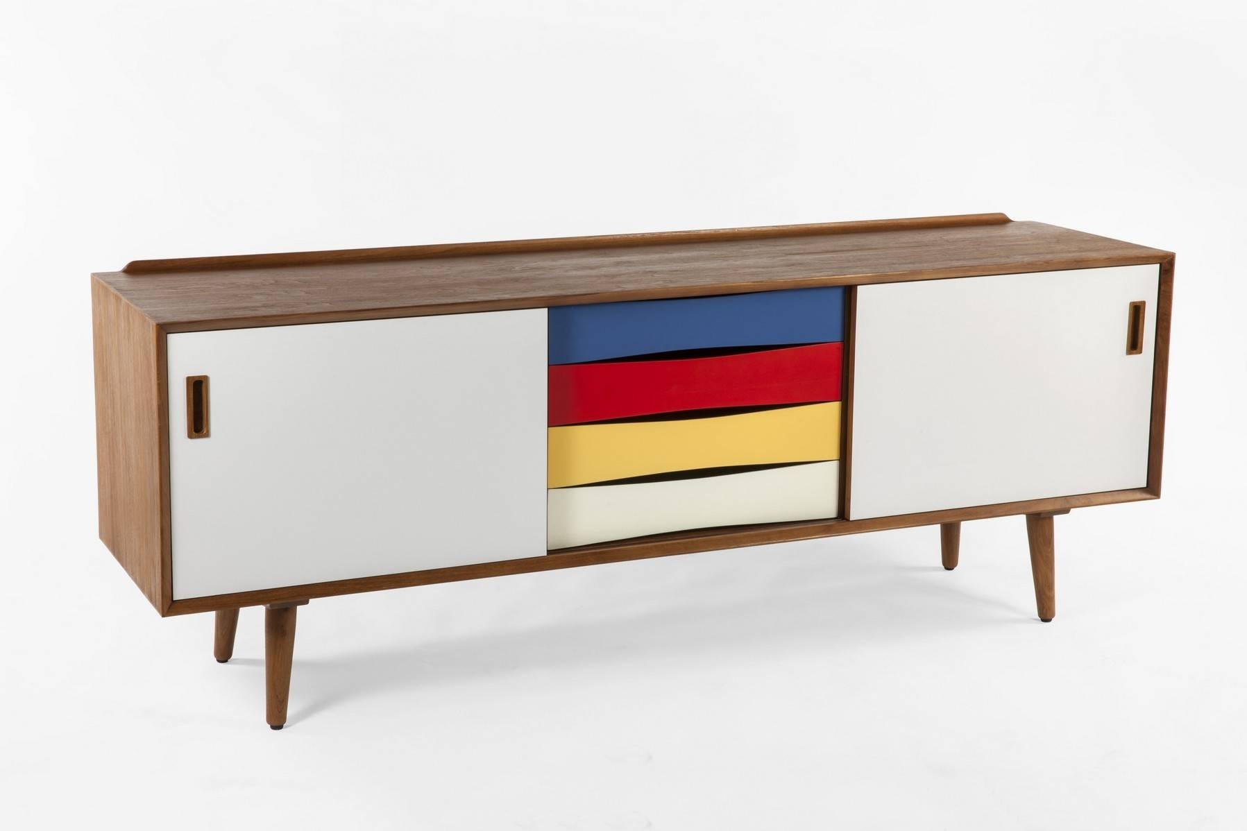Campbell Multi Color Multicolored Sideboard Mid Century Modern pertaining to Multi Drawer Sideboards (Image 10 of 30)