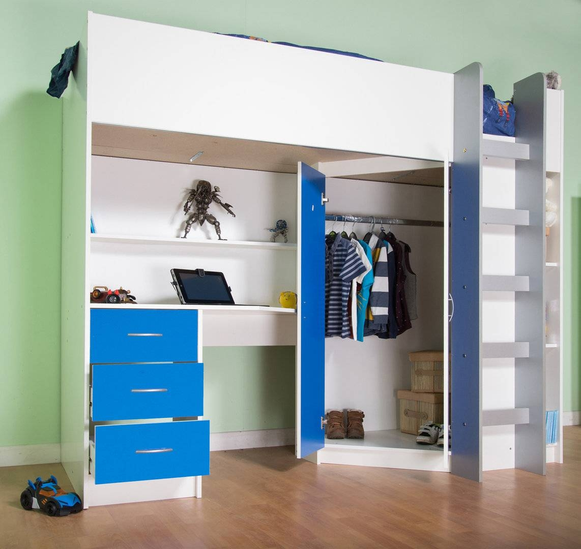 Candy Childrens High Sleeper Bed White/blue with High Sleeper Wardrobes (Image 3 of 15)