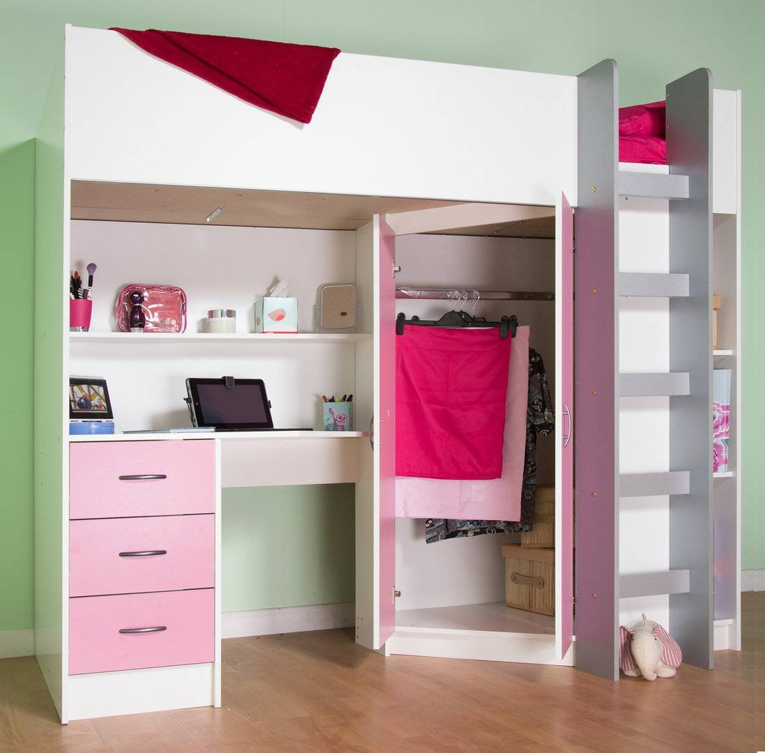 Candy Childrens High Sleeper Bed White/pink in High Sleeper With Desk and Sofa (Image 4 of 30)