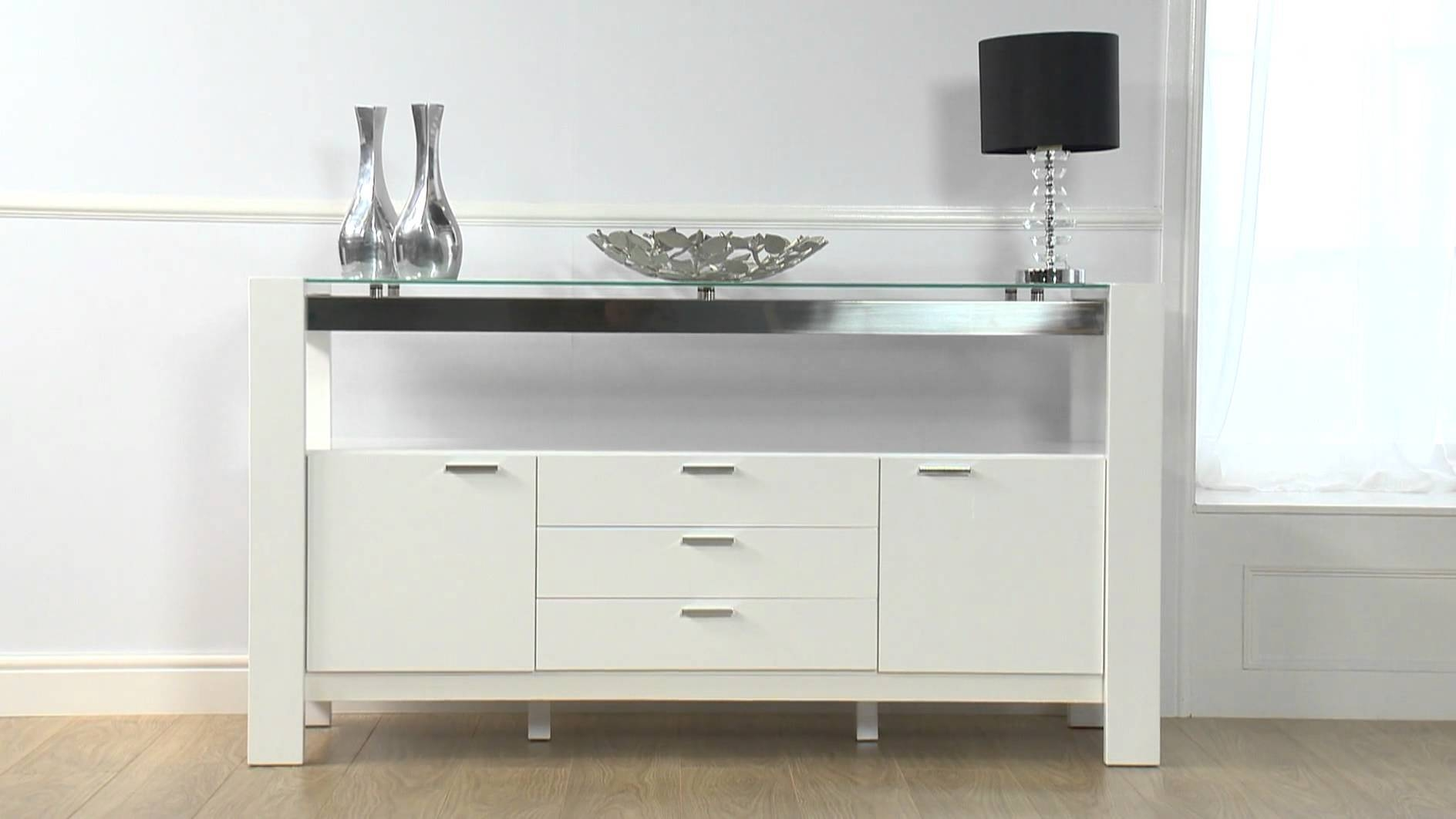 Cannes White High Gloss Sideboard - Ofstv - Youtube with Gloss White Sideboards (Image 7 of 30)