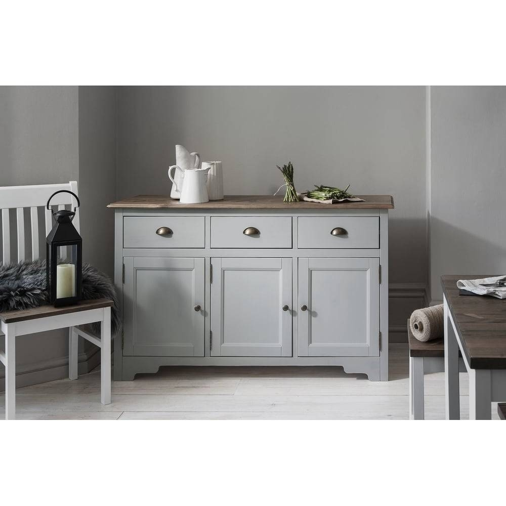 Canterbury 3 Drawer Sideboard Cabinet In Silk Grey | Noa & Nani within Dark Grey Sideboards (Image 9 of 30)