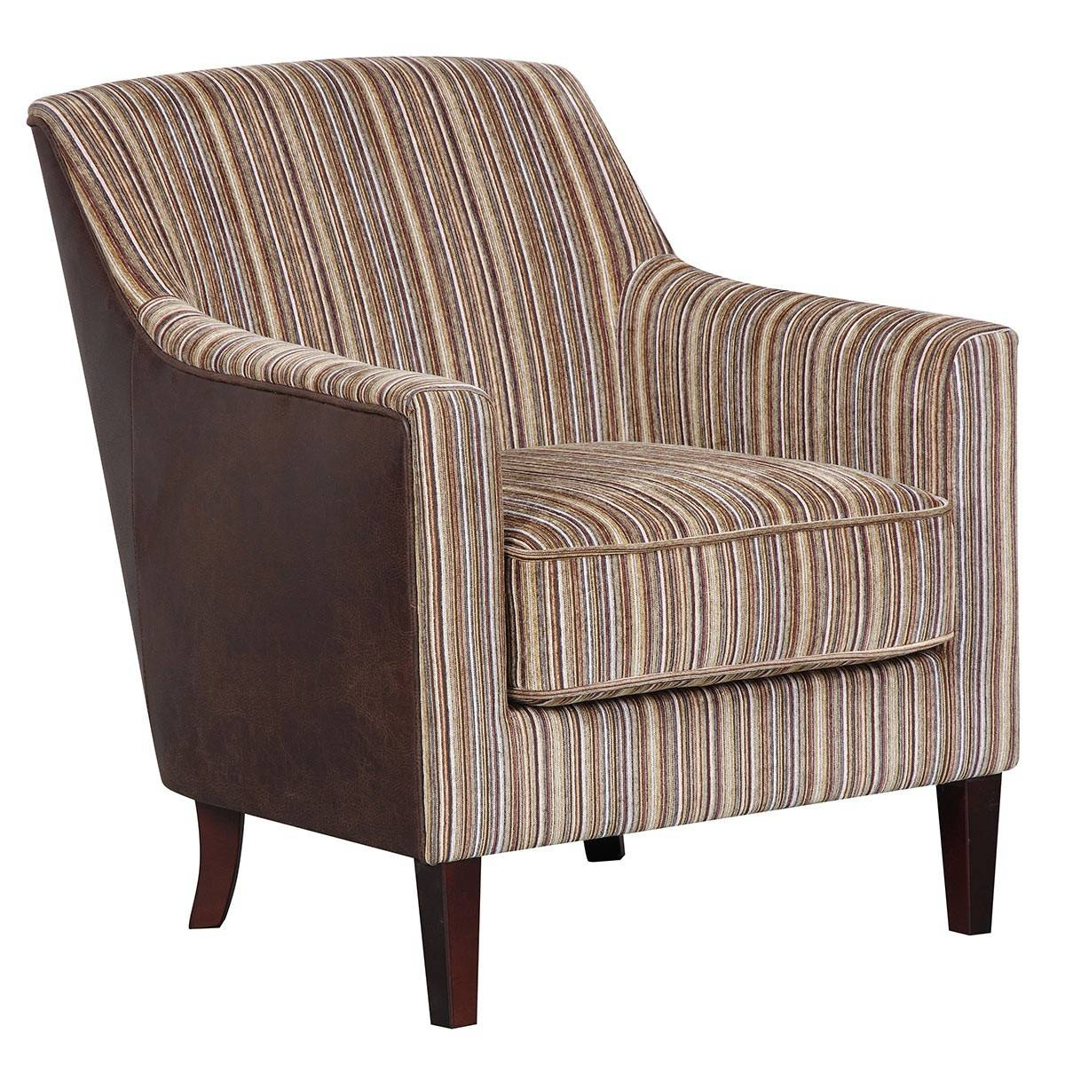 Canterbury Accent Chair Brown Stripe/ Chocolate Leather Effect within Canterbury Leather Sofas (Image 8 of 30)