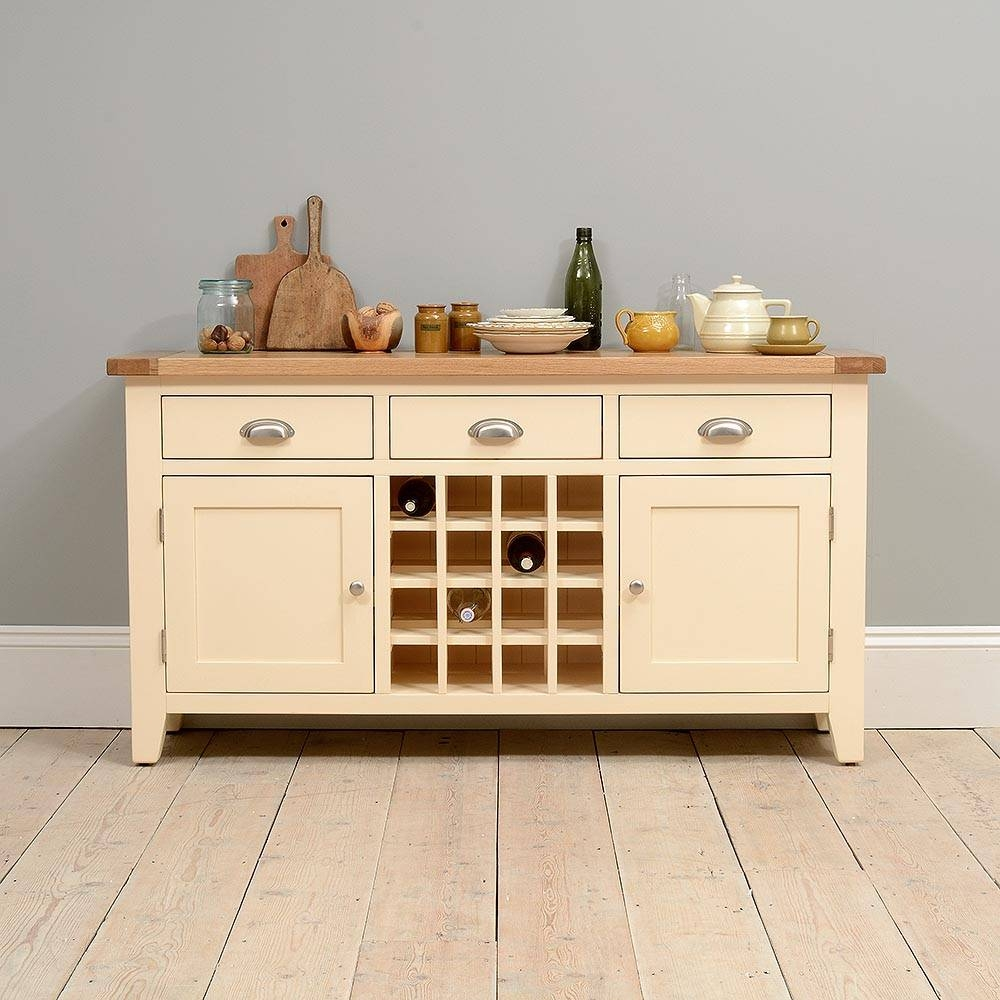 Canterbury Cream Sideboard With Wine Rack Including Free Delivery throughout Oak Sideboards With Wine Rack (Image 4 of 30)