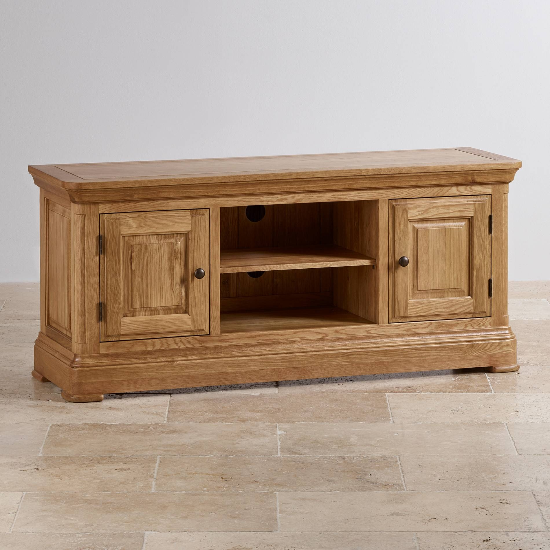 Canterbury Large Tv Cabinet | Solid Oak | Oak Furniture Land for Tv Cabinets And Coffee Table Sets (Image 3 of 15)