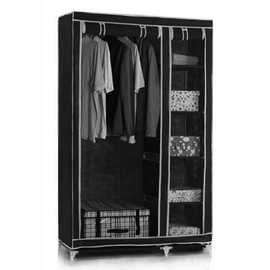 Canvas Wardrobe With Hanging Rail Shelves Storage Furniture Black regarding Double Rail Canvas Wardrobes (Image 1 of 30)