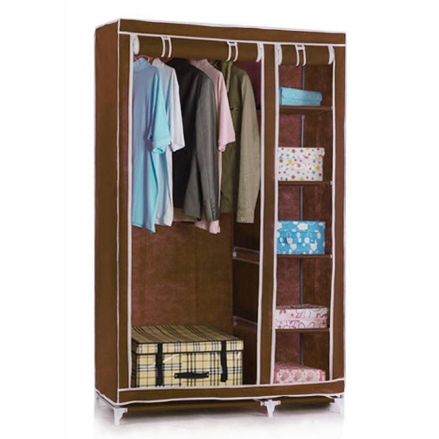 Canvas Wardrobe With Hanging Rail Shelves Storage Furniture Brown intended for Double Rail Canvas Wardrobes (Image 2 of 30)
