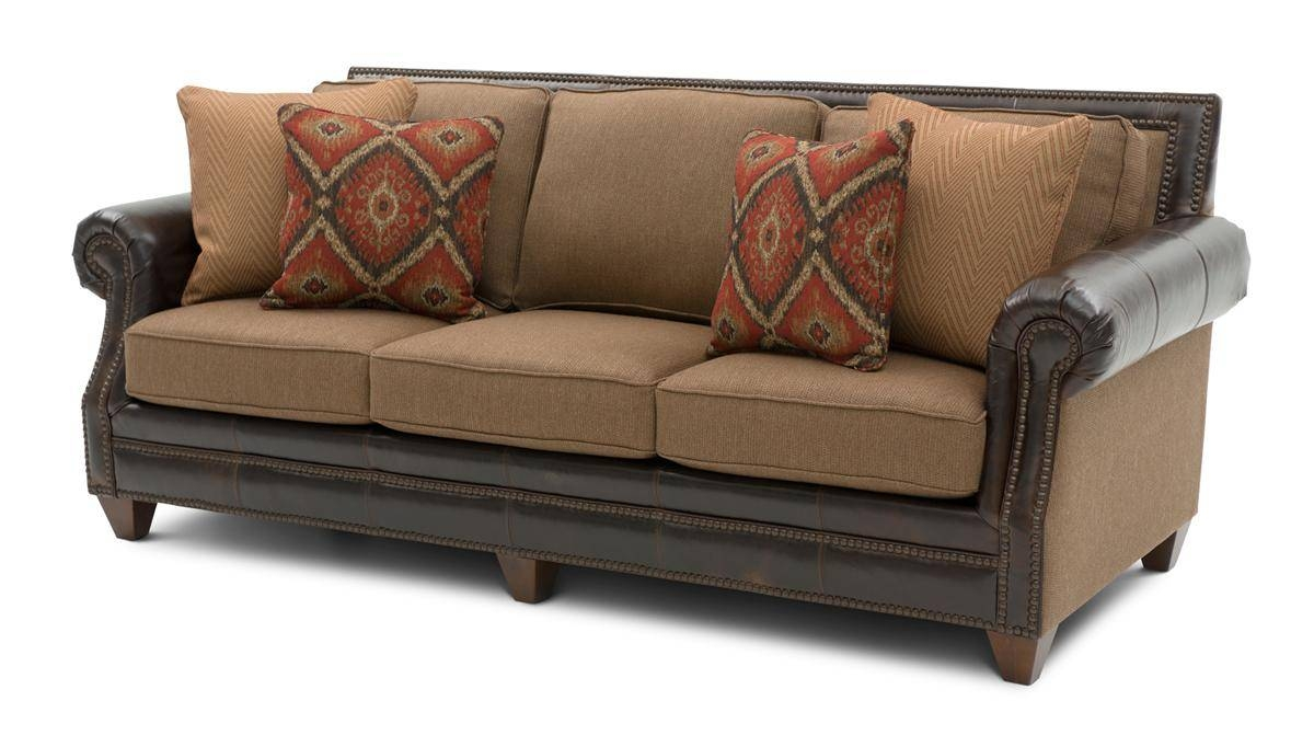 Cardigan Cinnamon Leather/fabric Sofa | Weir's Furniture regarding Leather and Material Sofas (Image 1 of 30)