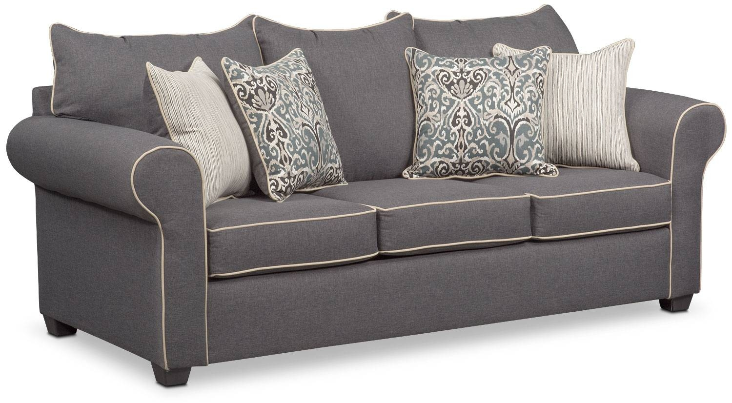 Carla Sofa And Accent Chair Set - Gray | Value City Furniture intended for Sofa And Accent Chair Set (Image 8 of 30)